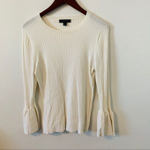 Ann Taylor White Ribbed Top Size XL Bell Sleeves